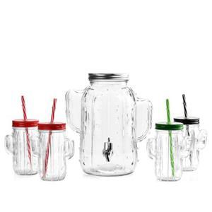 Zestaw szklany KAKTUS słój 4L + 4 kubki ze słomką - 2886534294