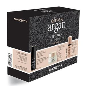 ZESTAW MACROVITA ARGAN & OLIVE: krem na noc do każdego rodzaju cery 50ml + liftingujące serum na twarz, szyję i dekolt 30ml + GRATIS krem pod oczy 30ml - 2857457627