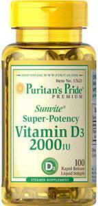 Witamina D3 2000 UI 100 kapsułek Puritan's Pride - 2832069063