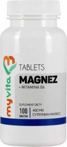 Magnez Cytrynian Magnezu 450mg + Witamina B6 100 tabletek MyVita - 2834819653