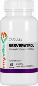 Resveratrol standaryzowany resweratrol ekstrakt 250mg 60 tabletek MyVita - 2846343854