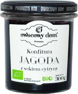KONFITURA JAGODA Z SOKIEM Z CYTRYNY BIO 300 g - OWOCOWY DOM - 2850408691