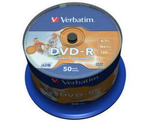 VERBATIM DVD-R 4,7GB 16X PRINTABLE FULL CAKE*50 43533 - 2824921282
