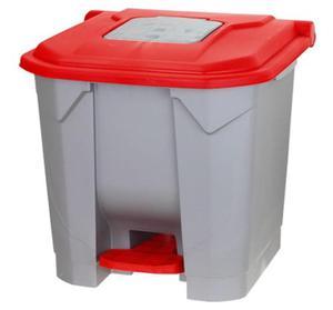 Kosz na śmieci 30 l na pedał pokrywa czerwona - 2857392281