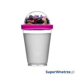 Kubek do jogurtu z pojemnikiem na musli 0,3 l Sagaform Fresh różowy - 2843254176