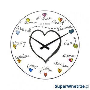Zegar ścienny 35 cm NeXtime Loving You Dome - 2843257982