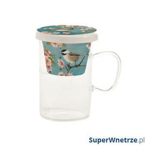Kubek ze szkła borokrzemowego z zaparzaczem 325ml Nuova R2S Romantic niebieska z wróbelkiem - 2845862186