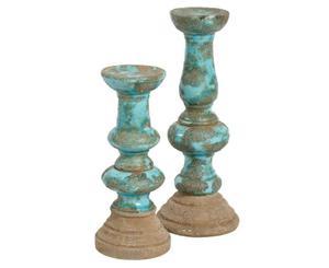 Belldeco :: Świecznik Azzurro Old 2, cermika, 18x18x48 cm (BD_C31229A94) - 2861827946