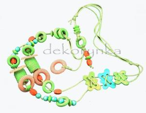 """Naszyjnik sznurkowy regulowany """"3 MOTYLE"""" zielono-niebieski - 2882024364"""
