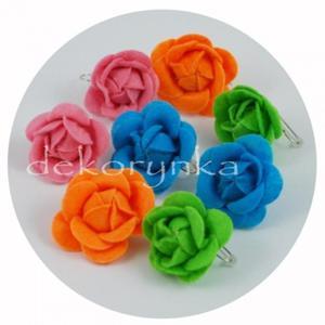 Kolczyki z delikatnego filcu - różyczki - pomarańczowe - 2882024499
