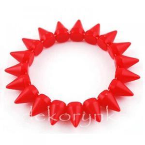 1442 Bransoletka neon KOLCE spike PUNK rock EMO red - 2861653691