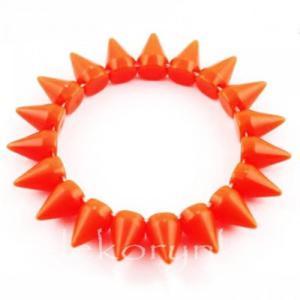 1447 Bransoletka neon KOLCE spike PUNK rock EMO orange - 2861653692