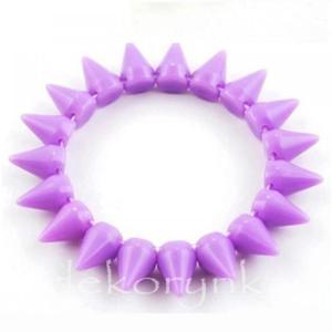 1446 Bransoletka neon KOLCE spike PUNK rock EMO violet - 2861653693