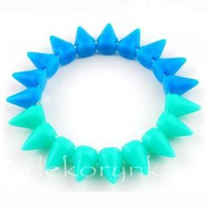 1449 Bransoletka neon KOLCE spike PUNK rock EMO sea blue - 2861653695