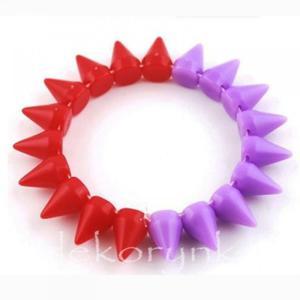 1448 Bransoletka neon KOLCE spike PUNK rock EMO red violet - 2861653696