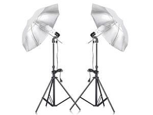 Zestaw oświetleniowy studyjny - 2x600W + 2x statyw 230cm z parasolami - 2847714461