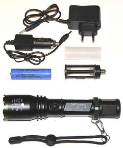 Latarka policyjna wojskowa taktyczna LED T6 BL1822 ładowalna 12V i 230V Latarka policyjna wojskowa taktyczna LED T6 BL1822 ładowalna 12V i 230V - 2840690636