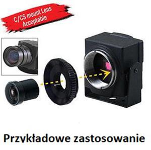 Mini kamera kolorowa 600 linii TV, 0,001 Lux , STAR LIGHT, HDR, 3D-DNR, współpraca z obiektywami C, CS, MINI, OSD, 15-CG43 - 2823347034