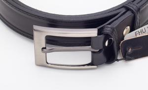 Pasek skórzany męski czarny 3 cm - 2829703140