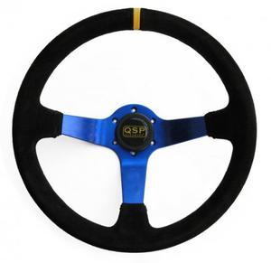 Kierownica zamszowa 3 ramienna QSP 70 niebieska - 2823516943