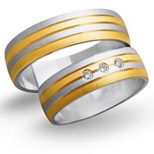 Obrączki ślubne z żółtego i białego złota 6mm - O2K/067 - 2833198304
