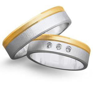 Obrączki ślubne z żółtego i białego złota 6mm - O2K/068 - 2833198305