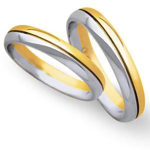 Obrączki ślubne z żółtego i białego złota 4mm - O2K/069 - 2833198306