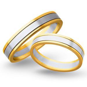 Obrączki ślubne z żółtego i białego złota 5mm - O2K/071 - 2833198308