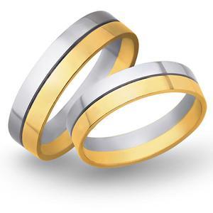 Obrączki ślubne z żółtego i białego złota 5mm - O2K/073 - 2833198310