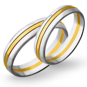 Obrączki ślubne z żółtego i białego złota 5mm - O2K/075 - 2833198312
