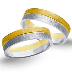 Obrączki ślubne z żółtego i białego złota 5mm - O2K/076 - 2833198313
