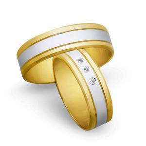 Obrączki ślubne z żółtego i białego złota 6mm - O2K/083 - 2833198320