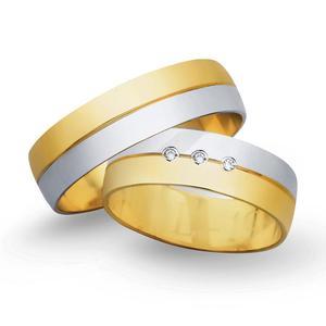 Obrączki ślubne z żółtego i białego złota 6mm - O2K/084 - 2833198321