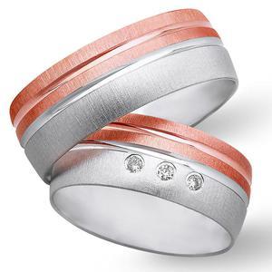 Obrączki ślubne z biało - czerwonego złota 8mm - O2K/087 - 2833198324