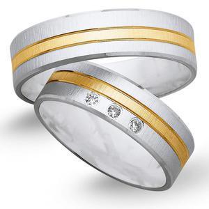 Obrączki ślubne z żółtego i białego złota 6mm - O2K/088 - 2833198325