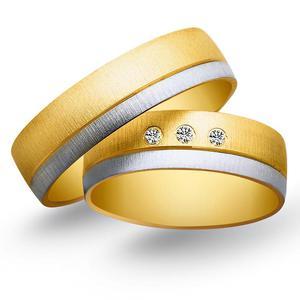 Obrączki ślubne z żółtego i białego złota 6mm - O2K/089 - 2833198326
