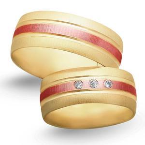 Obrączki ślubne z żółto - czerwonego złota 8mm - O2K/090 - 2833198327