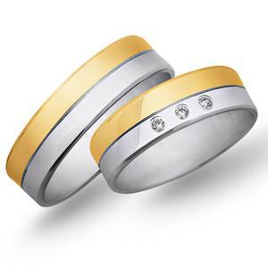 Obrączki ślubne z żółtego i białego złota 6mm - O2K/091 - 2833198328