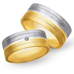 Obrączki ślubne z żółtego i białego złota 8mm - O2K/093 - 2833198330