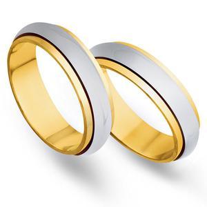 Obrączki ślubne z żółtego i białego złota 5mm - O2K/094 - 2833198331