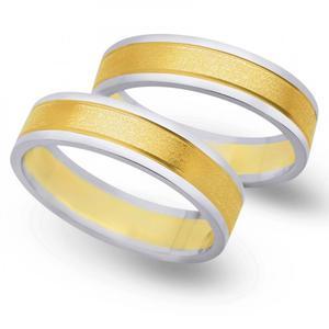 Obrączki ślubne z żółtego i białego złota 5mm - O2K/095 - 2833198332