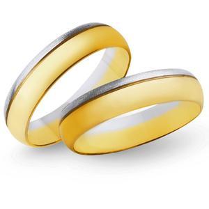 Obrączki ślubne z żółtego i białego złota 5mm - O2K/097 - 2833198334