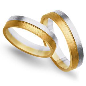 Obrączki ślubne z żółtego i białego złota 4mm - O2K/098 - 2833198335