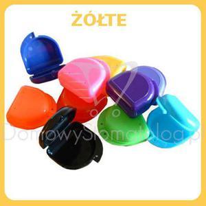 Klasyczne pudełko ortodontyczne na protezę, szynę zgryzową, aparat ortodontyczny - Żółty - 2827459980