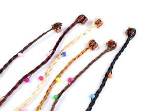 Dopinki warkoczyki - pasemka z koralikami #2 Braided dots - strands with beads #2 - 2859638092