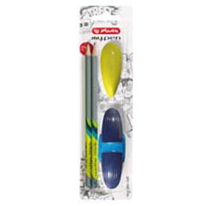 Zestaw Szkolny temperówka + ołówek + gumka granatowy - 2835858811