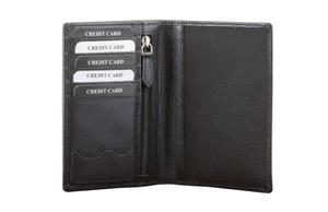 Skórzany portfel na paszport biometryczyny oraz karty zbliżeniowe (Czarny) - Czarny połysk - 2841652842