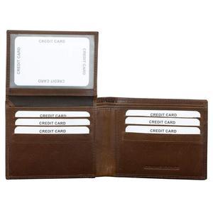 e8f55a7f949f6 KORUMA. Portfele>Męskie. OPIS PRZEDMIOTU Skórzany męski portfel koloru brąz  z wbudowaną ochroną kart zbliżeniowych RFID ...