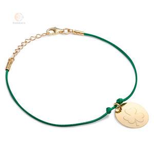 Bransoletka sznurkowa ze srebra pozłacanego koniczynka - 2856187308