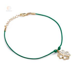 Bransoletka sznurkowa ze srebra pozłacanego koniczynka cyrkonie - 2856187310